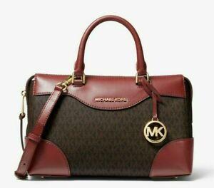 NWT MICHAEL KORS MAYA SMALL Satchel X-body Bag In BRANDY BROWN MK PVC Leather