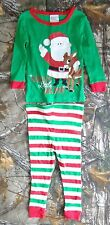RUDOLPH the red nosed reindeer green long sleeve top&striped pant pajama set,18M