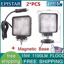 2PCS 15W Led Search Light Spot Work Light +Magnetic Base For Off-road Trucks