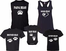 New! Papa Mama Baby Bear Sister Bother Black Family Matching T-shirts Newborn-5X