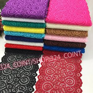 1YD, Flower Stretch Lace Trim Ribbon Elastic fabric 18cm wide Sewing Craft HB251