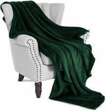 """Plush Forest Green Blanket Large 50"""" x 70"""" Velvet Soft Warm Blanket Throw Fleece"""