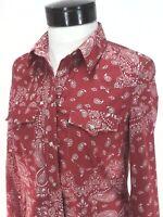 LEVI'S Western Shirt Red Bandana Print w Snaps Top Women's S RARE