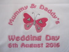Personalised Baby Bib - Embroidered for Baby - Wedding - Butterfly - Gift/Favour