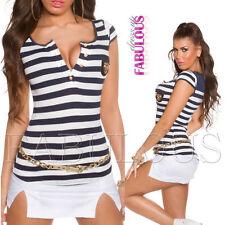Cap Sleeve Regular Size Striped Button Down Shirts for Women