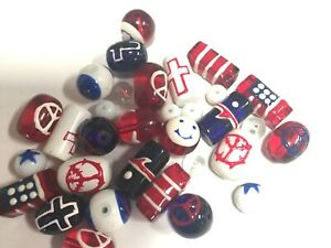 Red White Blue Beads Flag Cross Peace Smiley Star DIY Jewelry 20 pcs Glass Beads