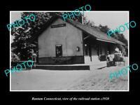 OLD LARGE HISTORIC PHOTO OF BANTAM CONNECTICUT THE RAILROAD DEPOT c1920
