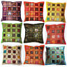 "Cushion Covers 16x16"" 40cm Indian Heavy Embroidery Patchwork Square Moroccan"