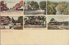 Wisconsin Wi Postcard 1909 HUDSON 6View RAILROAD DEPOT Train Sanatorium 2nd St