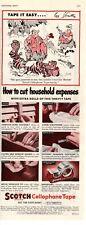 1950 ORIGINAL VINTAGE SCOTCH TAPE CELLOPHANE TAPE  MAGAZINE AD