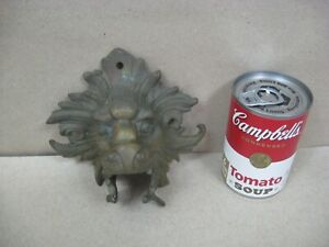 Antique Vtg Brass Bronze Lion Figural Head Topper Finial Lamp Chandelier Door