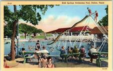 DALLAS, Texas  TX   KIDD SPRINGS Swimming Pool   ca 1940s Linen  Postcard