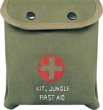 Olive Drab M-1 Jungle Military Red Cross Emergency First Aid Kit with Supplies