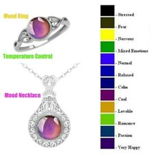 Vintage Color Change Temperature Mood Pendant Emotion Feeling Necklace And rings