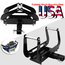 """Foldable Winch Cradle Mount Mounting Plate Bracket 4WD Truck Trailer ATV 2""""Hitch"""