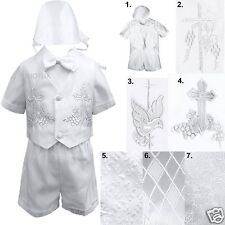 New Infant Toddler Boys Christening Baptism White Vest Shorts Set Outfits + Hat