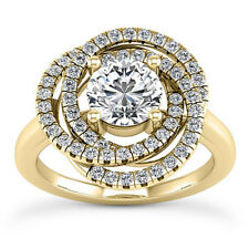 Halo Flower 1.23 Carat SI1/H Round Diamond Engagement Ring Yellow Gold