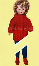 """Vintage 50's Knitting Pattern DOLLY DOLLS CLOTHES, SWEATER,JEANS,SHOES 10-16"""" DK"""