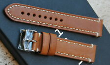 Cinturino per orologi militari in cuoio tan leather band 20 mm. fibbia acciaio