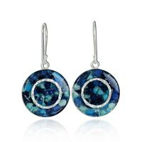 Shades of Blue Gemstone Earrings 925 Sterling Silver Unique Round Cluster