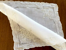 BEAUTIFUL Vintage Hand Embroidered FLOWERS White Lawn Ladies Handkerchief
