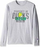 Champion NCAA Oregon Ducks Men's Long Sleeve T-shirt Gray Green Size Medium