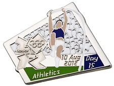 "OFFICIAL LICENSED LONDON 2012 OLYMPIC GAMES PIN / BADGE ""ATHLETICS"" DAY #15"