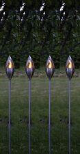 """BUVTEC 4er-LED-Solar-Gartenfackel-Set """"Chiemsee"""", geschlossen, Edelstahl, ca.115"""