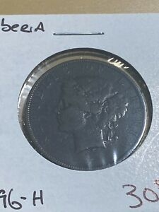 1896-H Liberia 2 Cents Coin!! Low Mintage!!