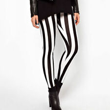 WOMENS BLACK AND WHITE FULL LENGTH LADIES SKINNY STRIPPED STRETCH LEGGINGS PANTS