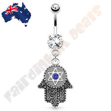 316L Surgical Steel Hamsa with Hexagram and Blue Gem Dangle Belly Ring