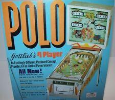 Polo Pinball FLYER Original 1970 Gottlieb Game Retro Vintage Sports Pony Horses