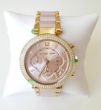 Michael Kors Watch Women's Parker Gold Pink Acetate Band MK6326 Genuine Luxury