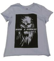 STAR WARS Chewbacca Rolled Hem and Sleeve WHAT A WOOKIE Blue T-Shirt Juniors