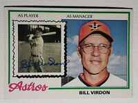 1978 Topps Bill Virdon Autograph Card Signed Astros Pirates Auto, Signed #279