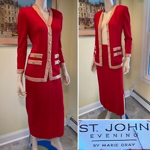 ST JOHN Size 4/Small Red Gold Bejeweled Santana Wool Stretch-Knit Skirt Suit