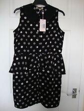BN Pink Boutique Spot Print Peplum Black/White Dress size 14