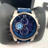 Police Men's Wrist Watch Quartz Silver Blue Silicone Strap Analog PL.14541JS/03P