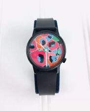 Vintage GUESS Watch Logo Black Pink Blue Floral Flowers