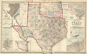 "1876 TEXAS County Map~O.W.Gray Atlas-Superb~16"" x 20"""