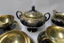 Beautiful 7 Piece Tea Set Cobalt & Gold Nippon Porcelain Paulownia Crest Mark