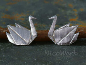 Silver Ear Stud Origami Kranich Abstract Brushed Matte Plain Ladies 925