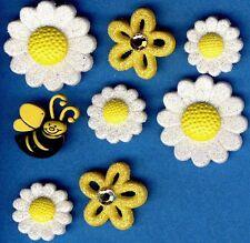 Daisy Bee Brillo Flor Primavera Verano Jardín Novedad vestirla Craft Botones