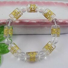 M# Tibetan white Synthetic crystal Bead carve om mani padme hum Amulet Bracelet