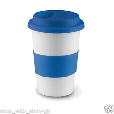 Insulated Ceramic Takeaway Travel Mug With Silicone Lid (blue)