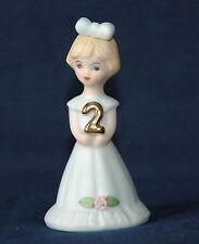 "1981 Enesco Growing Up 2 Birthday Girl Cake Topper Figurine Blonde 3"" Sri Lanka"