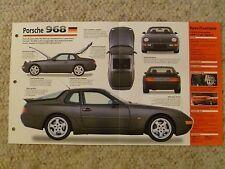 "1991 - 1995 Porsche 968 Coupe IMP ""Hot Cars"" Spec Sheet / Folder Brochure 7-7"
