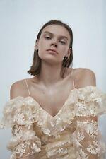 Zara New Ecru Cream Beige Embroidered Blouse Ruffle Trim Size S, BNWT