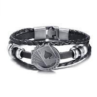 Punk Rock Braided Leather Men Cowboy Bracelet Gamble Poker Charm Biker Wristband
