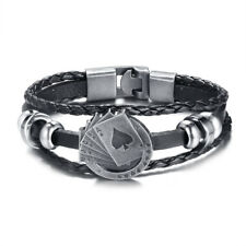 Punk Rock Braided Leather Men Cowboy Bracelet Gamble Poker Charm Biker Wristband